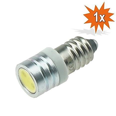 LED Bombilla LED COB SMD E10 (Casquillo roscable, 6 V, Blanco Xenón Blanco bicicleta Art-Land Mofa Oldtimer linterna 1 W 1 W: Amazon.es: Iluminación