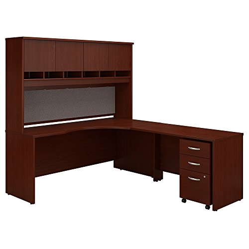Bush Business Furniture Series C 72W Right Handed Corner Desk with Hutch and Mobile File Cabinet in Mahogany - Contemporary Mahogany Hutch