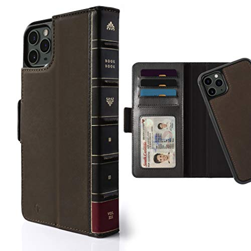 Twelve South BookBook for iPhone 11 Pro Max   3-in-1 Leather Wallet Case with Display Stand and Removable Magnetic Shell (Brown)