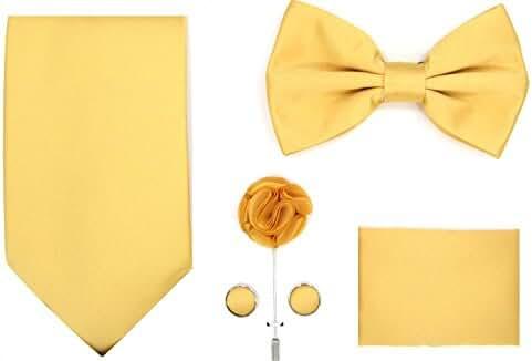 5pc Set Solid Pattern NeckTie, Bow Tie, Lapel Pin, Cufflinks & Pocket Square Handkerchief For Suit & Tuxedo