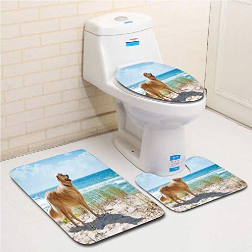 Family bathroom set of 3, bathroom rug + contour pad + lid toilet seat Dog Lover Decor,Golden Retriever on a Sandy Dune Overlooking Tropical Beach Ocean Outside Sky Decorative, flannel carpet -