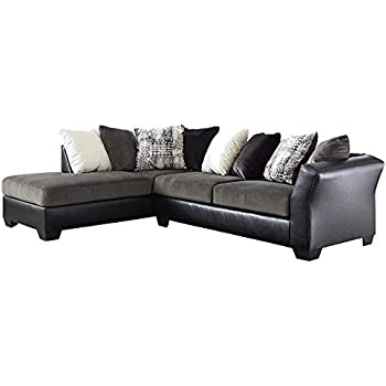 Armant 202001667 Sectional Sofa with Left Arm Corner Chaise Right Arm Sofa and Eight Pillows Included in Ebony