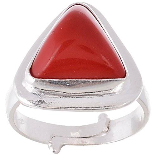 (Astrology Paradise Red Coral Silver Triangular Astrological Ring for Unisex)
