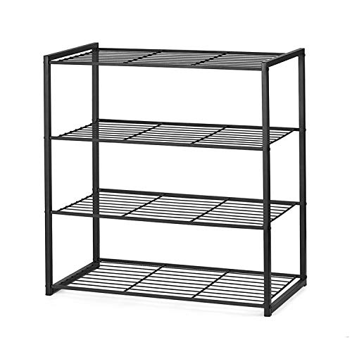(Titan Mall Shoe Organizer Free Standing Shoe Rack 4 Tier Shoe Rack Black Metal Shoe Rack 25 Inch Wide Shoe Tower Shelf Storage)