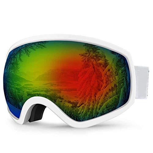 AKASO Ski Goggles, Snowboard Goggles Anti-Fog, 100% UV Protection, Double-Layer Spherical Lenses, Helmet Compatible Snow Goggles for Men, Women, Kids (White Frame/Grey Lens with Red REVO (VLT 14%))