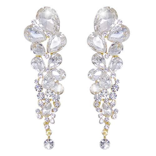 EVER FAITH Women's Austrian Crystal Gorgeous Tear Drops Wedding Dangle Pierced Earrings Clear Gold-Tone - Gold Tone Pierced Earrings