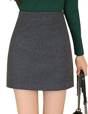 Tanming Women's Red and Gray Plaid Wool Hi-Waist Skirt