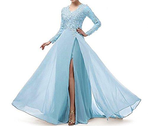 Marie Himmel Attraktive Brautmutterkleider Spitze La Chiffon Abendkleider Abiballkleider Blau Rock Lang Langarm Braut Wn1Zp4pS