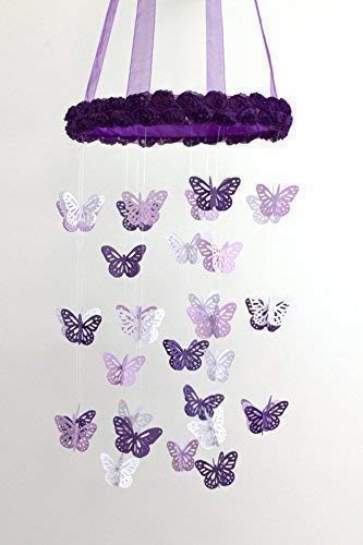 Butterflies & Roses Nursery Ceiling Mobile in Purple, Lavender & White- SMALL SIZE
