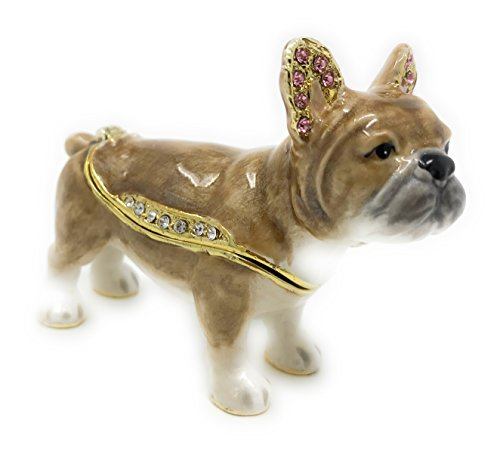 Kubla Craft Enameled French Bulldog Trinket Box, Accented with Austrian Crystals ()