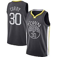 ZOZ Hombre Jersey de Baloncesto Masculino Warriors de Stephen Curry Jersey # 30 Sin Mangas Malla Jersey (Negro, S-)