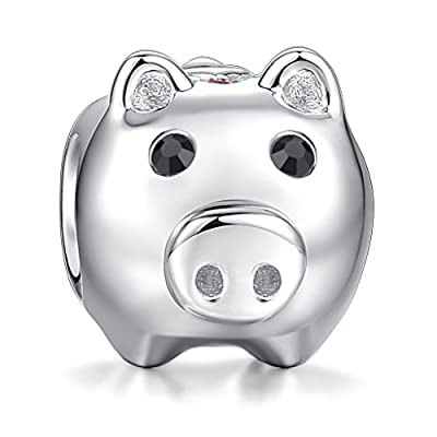 Glamulet Cute Pig Animal Charms 925 Sterling Silver Bead Fit Bracelet Bracelets & Necklace from Glamulet