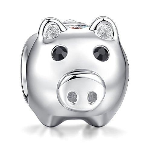 Glamulet Cute Pig Animal Charms 925 Sterling Silver Bead Fit Bracelet Bracelets & Necklace