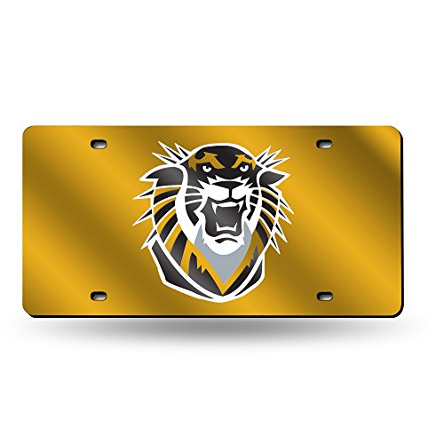 Rico Industries NCAA Fort Hays State Tigers Laser Inlaid Metal License Plate Tag, Gold, 6