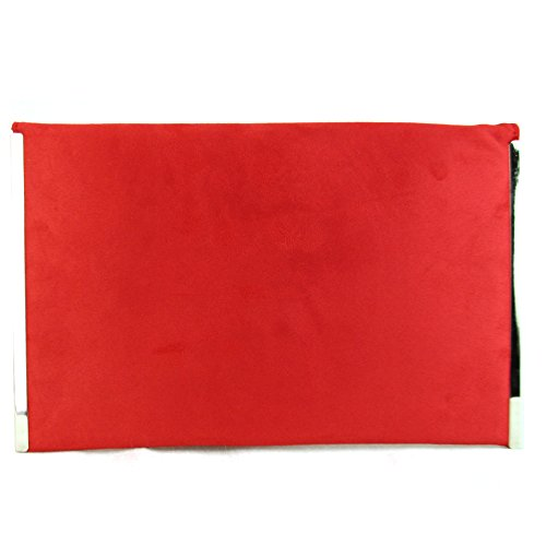 Red Bag UK Designer Ladies Evening Flat Women Faux Xardi New Envelope Clutch Medium London Suede RxfX7qO6