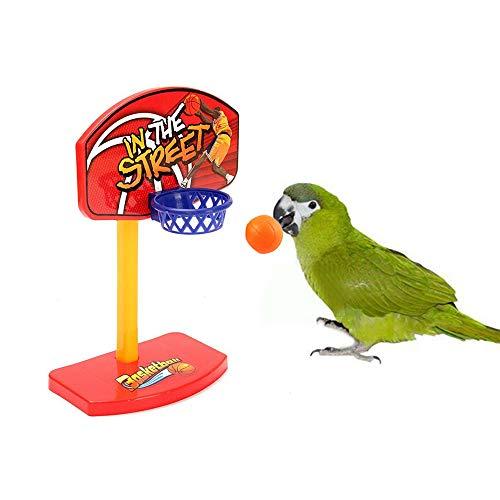 USHOT Pet Parrot Toys Birdie Basketball Hoop Balls Birds Parakeet Bell Prop Chew Set random color One Size