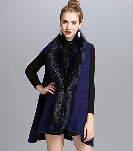 Delle Delle Casuali Donne Di Di Lungo scuro Scialle Blu Maglia Invernale Giacca Cappotto WanYang Modo Vest Cardigan A xAUwEt5