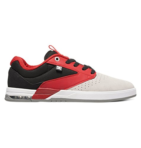 DC Mens Wolf S Ankle-High Leather Skateboarding Shoe Grey/Black/Red CeglVbt3UP