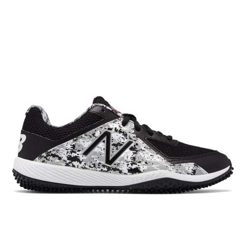 (New Balance Boys' TY4040V4 Turf Baseball Shoe Black/Whit 3 Medium US Little Kid)