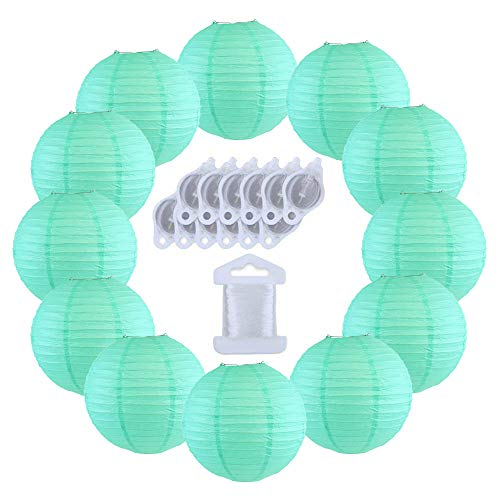 (Just Artifacts 12inch Decorative Round Chinese Paper Lanterns 10pcs w/ 12pc LED Lights and Clear String (Color: Seafoam))