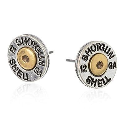 PammyJ Two-Tone Simulated Bullet Shotgun Shell Post Earrings