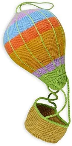 Chill N Feel Strick-Heißluftballon-Mobile para Colgar, de Colores, Unisex, 36cm, Ballonkorb para Rellenar, Bio-Algodón, Ducha para Bebé, Regalo de Nacimiento