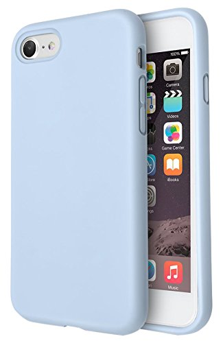 iPhone 8 Case, iPhone 7 Case, Fuleadture Liquid Silicone Gel Rubber Shockproof Phone Case Slim Soft Full Protective Cover with Microfiber Cloth Lining Cushion for Apple iPhone 7/8 - Light Blue ()
