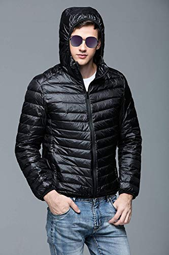 Hooded Down Jacket Sizes Down Jacket Quilted Fit Sleeve Schwarz Comfortable Outerwear Winter Autumn Winter Jacket Men's Mens Lightweight Clothing Down Coat Slim fashion HX Long PXqw7xaW
