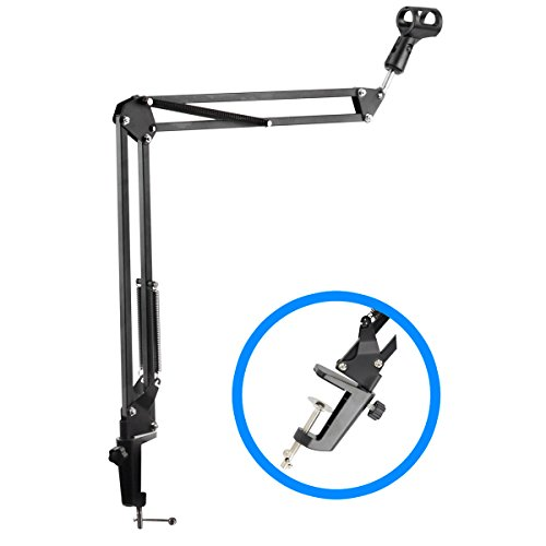 Premium Mic Stand - Microphone Arm And Clamp - Desk Mounted Suspension For Broadcast Quality Recording Including Voiceovers And Podcasts - Durable Heavy Duty Springs Support The Heaviest (Broadcast Quality Audio)