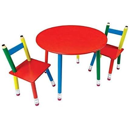 Delicieux PENCIL FURNITURE CHILDRENS TABLE U0026 CHAIR SET 3 PIECE PENCIL LEG KIDS  PRIMARY MULTICOLOR SET