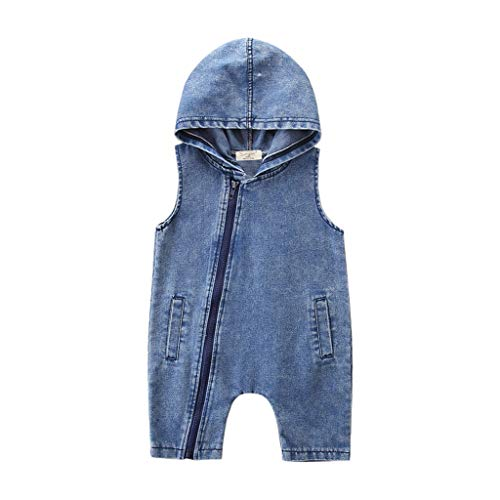 (Tronet Romper Baby boy Linen Toddler Kids Baby Boys Outfits Clothes Denim Hooded Sleeveless Romper Jumpsuit )
