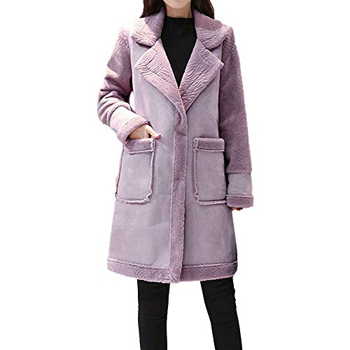 Limsea Women's Coat Leather Jacket, Faux Fur Patchwork Fleece Lapel Lined Windprrof Shearling X-Large Purple