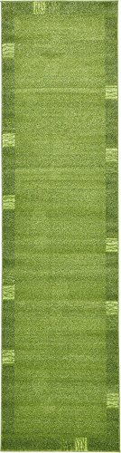 Unique Loom Del Mar Collection Contemporary Transitional Light Green Runner Rug (3′ x 10′) For Sale