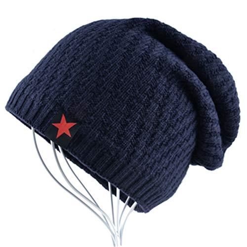 de Lana de Beanie Hombre Azul Sombreros de Gorros cráneos Invierno Punto gqZX4w4O