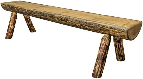 Montana Woodworks MWGCHLB6EXTAZ Glacier Country Collection Half Log Bench, 6 Foot, Exterior Stain Finish