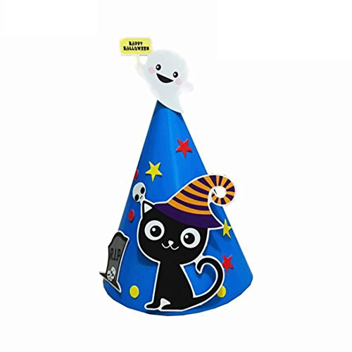 MMUA DIY Halloween Paper Cartoon Cap Child Child Halloween Ornament Hat Home Household Happy Halloween Festival Decoration Decor Kids Gift NEW (Blue - (Cocina Para Todos Halloween)