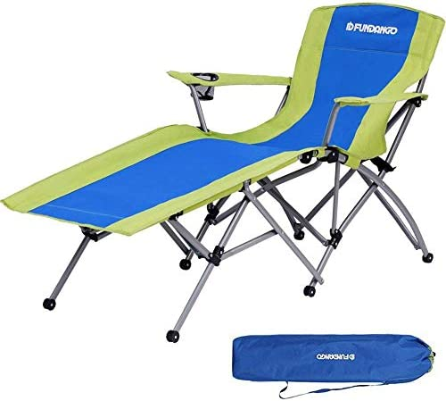 FUNDANGO Heavy Duty Patio Lounge Chair Outdoor Recliner Chair Folding Camping Chairs with Cup Holder Armrest and Storage Bag, for Garden, Lawn, One Reclining Position
