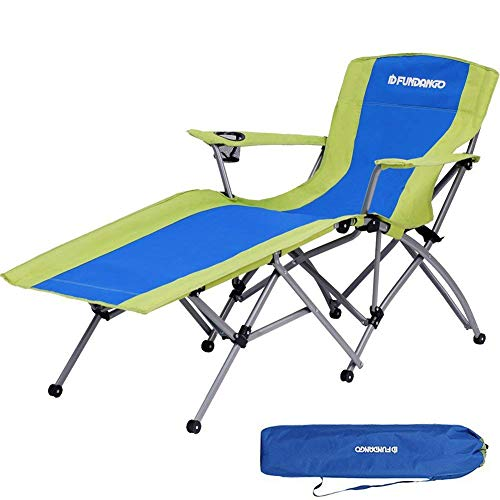 FUNDANGO Folding Camp Chair Portable Reclining Lounge Chair with Cup Holder Armrest and Storage Bag for Patios, Outdoors