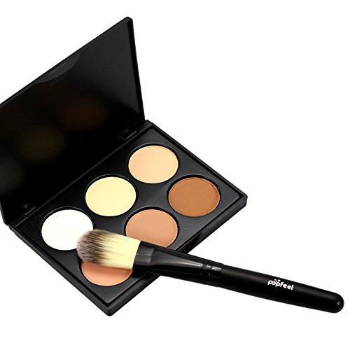 RedDhong 6 Colors Makeup Face Contour Concealer Poweder Bronzer Highlighter Palette Makeup Set + Powder Brush -  RED-H1355A03