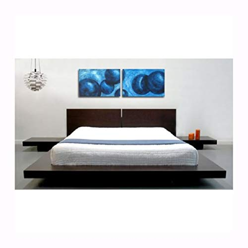 - Kin g Modern Japanese Style Platform Bed with Headboard and 2 Nightstand s in Espresso, King Modern Japanese Style Platform Bed with Headboard and 2 Nightstands in Espresso