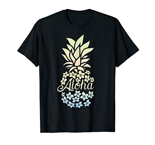Pineapple Flowers Shirt Women Aloha Hawaii Vintage Hawaiian