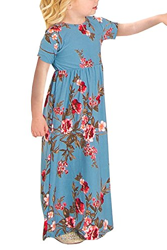 Size Light Floral 4 14 Casual Pockets Pleated Blue Waisted Caitefaso High Dress Maxi Girls zxZv5Pwq7B