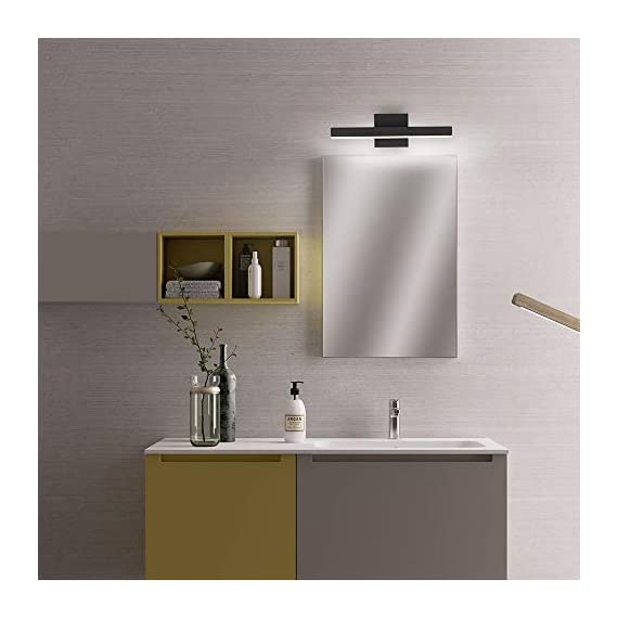 """Joossnwell LED Bathroom Vanity Lighting Fixture Morden Bath Light Bar 15.75inch Black Wall Sconce 9W 4000K - * [NEW DESIGN] Modern bathroom led vanity light fixture, perfect auxiliary lighting for bathroom and bedroom. * [SPECIFICATIONS] Length :15.57"""" for 9W, distance from the wall:3.54"""". Color temperature:4000K, Non-dimmable. * [ADVANTAGE] No dazzling , no glare,easy to install. No Switch or Cord on the light fixture, just connect to the reserved wire directly, square base 4.72"""" suitable for US Junction box standard. - bathroom-lights, bathroom-fixtures-hardware, bathroom - 41FF7olXwuL. SS570  -"""