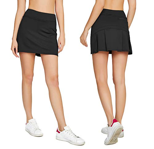 (Cityoung Women's Casual Pleated Tennis Golf Skirt with Underneath Shorts Running Skorts bk l)
