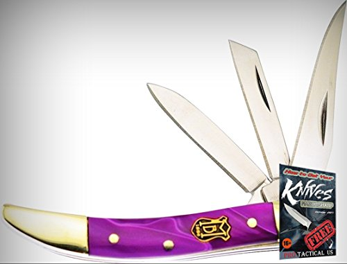 Frost Cutlery FMBS109GA3 Miller Bros 3 Blade Peanut Folding Limited Elite Knife Grape Handle3