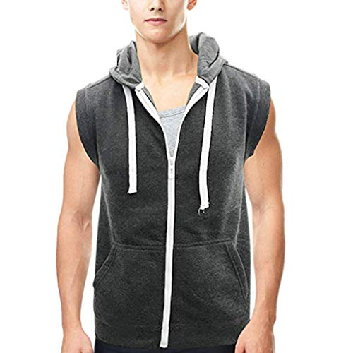 iHPH7 Tank Tops Mens Summer Printed Slim Sleeveless Vest Blouse Sports Fitness Vest Men Camouflage Stripe Sports Vest Striped Splice Large Open-Forked Male Vest XL Gray ()