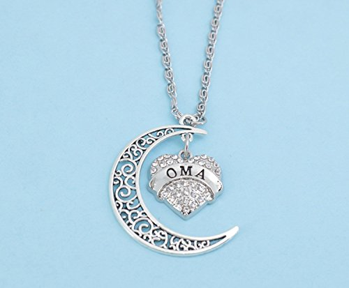Oma Love Her to the Moon and Back Charm Necklace. Oma Necklace. Oma Charm. Oma Jewelry. Oma gifts. Grandma gifts. Grandmother. 24 + 2 chain.