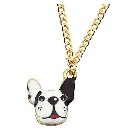 18K Gold Plated Black and white spots Bulldog Head Women Girls Pendant (White Dog Head Necklace)