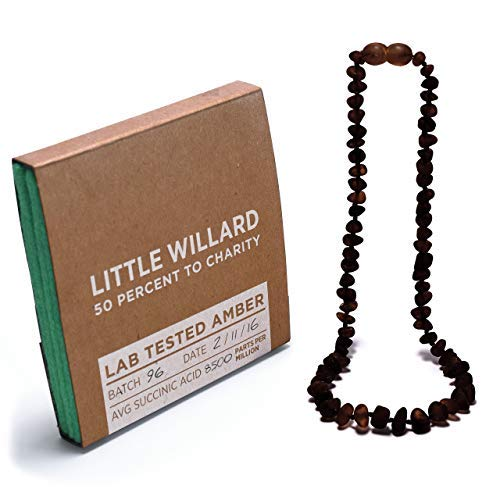 Amber Teething Necklace by Little Willard (Midnight Cherry) by Little Willard