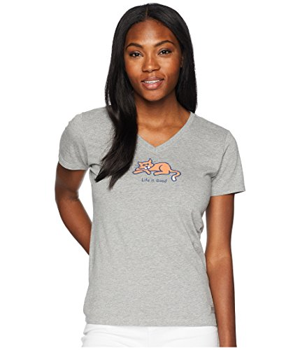 Good Women Cat - Life is Good Womens Cat Lover Graphic T-Shirt V-Neck Collection,Classic Cat,Heather Gray,XX-Large